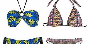 """<p>Go tribal this summer with the plethora of African and Ikat print bikinis on the high street. Don't be afraid to be bold with colours and patterns or go with earthy colour, and whatever you do, mixing prints is a MUST. A dash of red lippie and wooden bangles will accentuate the look.</p> <p>Left to right:</p> <p>Bue bikini, £35, <a href=""""http://www.fashion-conscience.com/clothing/swimwear/hava-fair-trade-african-print-bikini-4.html"""" target=""""_blank"""">Fashion Conscience<br /></a>Pink & yellow, top, £22, bottom, £15, <a href=""""http://womensecret.com/en/shop/swimwear/ethnic/triangle-bikini-5989213"""" target=""""_blank"""">Women's Secret<br /></a>Red & blue, <a href=""""http://www.newlook.com/shop/womens/swimwear/pink-aztec-animal-bandeau-bikini-top_276819699"""" target=""""_blank"""">top</a>, £12.99, <a href=""""http://www.newlook.com/shop/womens/swimwear/multicoloured-tribal-print-ring-side-bikini-bottoms-_276825599"""" target=""""_blank"""">bottom</a>, £9.99, New Look<br />Ikat print top, £14, bottom, £11.20, <a href=""""http://www.marksandspencer.com/Limited-Collection-Halterneck-Aztec-Bikini/dp/B004LUZEVU?ie=UTF8&ref=sr_1_18&nodeId=43168030&sr=1-18&qid=1370965466"""" target=""""_blank"""">M&S</a></p>"""