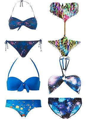 "<p>Digital prints is a favourite with designers like Alexander McQueen and Peter Pilotto, and if it's good enough for the catwalk, it's good enough for our holidays we say. Make sure all eyes are on you with galaxy, underwater or painted dot designs.</p> <p>Galaxy bikini, £7, Primark<br />Cut-out swimsuit, £189, <a href=""http://www.pistolpanties.com/all/tatiana-painting-dots-4243.html"" target=""_blank"">Pistol Panties<br /></a>Galaxy bikini <a href=""http://www.newlook.com/shop/womens/swimwear/navy-cosmic-print-bandeau-bikini-top_269707949"" target=""_blank"">top</a>, £14.99, <a href=""http://www.newlook.com/shop/womens/swimwear/navy-cosmic-print-bikini-bottoms_269711249"" target=""_blank"">bottoms</a>, £9.99, New Look<br />Fish print bikini, in-store at Calzedonia</p>"