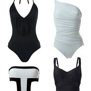 """<p class=""""p1"""">Bold contrasts of monochromatic black and white, and clean silhouettes is SS13's most directional – but easy-to-wear - trends. If you've got it, flaunt it in a sexy cut-out one-piece, or opt for chic shapewear to highlight that gorgeous, curvier figure.</p><p>Fringe one piece, £32, <a href=""""http://www.missselfridge.com/en/msuk/product/clothing-299047/swimwear-299066/swimsuits-299235/fringe-one-piece-316076?refinements=category~%5b460782%7c208070%5d&bi=1&ps=40"""" target=""""_blank"""">Miss Selfridge<br /></a>White Miraclesuit, £126, <a href=""""http://www.simplybeach.com/products/Miraclesuit/FashionFiguresJena-White.aspx"""" target=""""_blank"""">Simply Beach<br /></a>Aguaclara cut-out, £109.50, <a href=""""http://www.simplybeach.com/products/Aguaclara/PuertoBanusOnePiece-White.aspx"""" target=""""_blank"""">Simply Beach<br /></a>Panache black shaping suit, £75, <a href=""""http://www.simplybe.co.uk/shop/panache-swimwear-silhouette-shaping-suit/hh653/product/details/show.action?pdBoUid=7514&promo=1116&cm_mmc=GoogleBase-_-SimplyBe-_-Product%20Feeds-_-na&CAWELAID=520003940000100191&cagpspn=pla&gclid=CK7UzZur8LcCFXMRtAodBwoAHw"""" target=""""_blank"""">Simply Be</a></p>"""