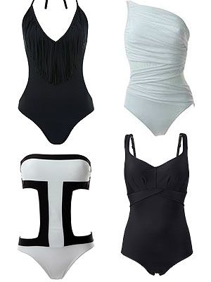 "<p class=""p1"">Bold contrasts of monochromatic black and white, and clean silhouettes is SS13's most directional – but easy-to-wear - trends. If you've got it, flaunt it in a sexy cut-out one-piece, or opt for chic shapewear to highlight that gorgeous, curvier figure.</p> <p>Fringe one piece, £32, <a href=""http://www.missselfridge.com/en/msuk/product/clothing-299047/swimwear-299066/swimsuits-299235/fringe-one-piece-316076?refinements=category~%5b460782%7c208070%5d&bi=1&ps=40"" target=""_blank"">Miss Selfridge<br /></a>White Miraclesuit, £126, <a href=""http://www.simplybeach.com/products/Miraclesuit/FashionFiguresJena-White.aspx"" target=""_blank"">Simply Beach<br /></a>Aguaclara cut-out, £109.50, <a href=""http://www.simplybeach.com/products/Aguaclara/PuertoBanusOnePiece-White.aspx"" target=""_blank"">Simply Beach<br /></a>Panache black shaping suit, £75, <a href=""http://www.simplybe.co.uk/shop/panache-swimwear-silhouette-shaping-suit/hh653/product/details/show.action?pdBoUid=7514&promo=1116&cm_mmc=GoogleBase-_-SimplyBe-_-Product%20Feeds-_-na&CAWELAID=520003940000100191&cagpspn=pla&gclid=CK7UzZur8LcCFXMRtAodBwoAHw"" target=""_blank"">Simply Be</a></p>"