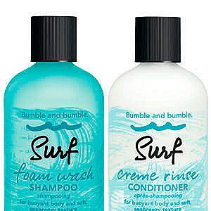 """<p>The partners to Bumble and bumble's now iconic Surf Spray are the new Surf Foam Wash Shampoo and Creme Rinse Conditioner, perfect for those hitting their holidays. Together they cleanse the hair of build-up (be it salt spray or real sea water) and leave it airy-light with breezy bounce.<br /><br />Bumble and bumble Surf Foam Wash Shampoo, £18.50, <a href=""""http://www.bumbleandbumble.co.uk/product/9192/26676/Products/SurfCampaign/surf-foam-wash-shampoo/index.tmpl"""" target=""""_blank"""">Bumble and bumble</a>&#x3B; Bumble and bumble Surf Creme Rinse Conditioner, £20, <a href=""""http://www.bumbleandbumble.co.uk/product/9192/26678/Products/SurfCampaign/surf-creme-rinse-conditioner/index.tmpl"""" target=""""_blank"""">Bumble and bumble </a></p>"""