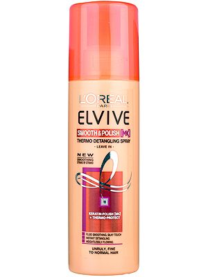 """<p>If your hair has become unruly from the sun, sand and sea, from partying at festivals or simply from over-styling – then you need to know about this. The weightless leave-in spray will instantly detangle and smooth your locks leaving them like actual silk.<br /><br />L'Oréal Paris Elvive Smooth & Polish Thermo Detangling Spray, £5.99, <a href=""""http://www.amazon.co.uk/LOr%C3%A9al-Elvive-Smooth-Polish-Detangling/dp/B00C7WPM6Q"""" target=""""_blank"""">amazon.co.uk</a></p>"""