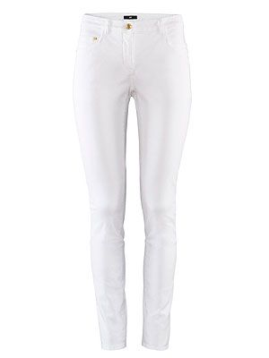 "<p>Wimbledon is all about the whites, so where more appropriate to strike out in summer's boldest trouser – the white jean. Work the white on white trend with a white blouse and relaxed jacket? Too literal? A chalk-bright blazer will add a touch of colour. To keep it sophisticated, stick to a mid-height heel.</p> <p>White trousers, £14, <a href=""http://www.hm.com/gb/product/01559?article=01559-M"" target=""_blank"">H&M</a></p>"