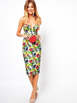 "<p>Central Saint Martin graduate Molly Goddard's new collection for ASOS is fun, flirty and sexy and we're a little bit in love with this floral pencil dress with plunging neckline. Glam.</p> <p>Dress, £75, <a href=""http://www.asos.com/ASOS/ASOS-SALON-Two-Print-Pencil-Dress/Prod/pgeproduct.aspx?iid=2926530&cid=12921&sh=0&pge=0&pgesize=36&sort=-1&clr=Multi"" target=""_blank"">ASOS</a></p>"