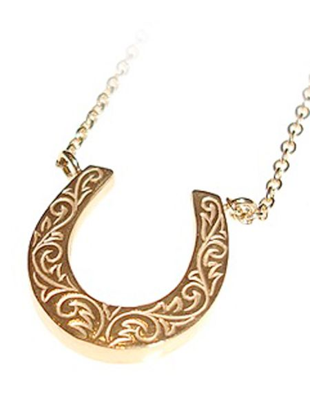 """Bring yourself some luck with this gorgeous gold horseshoe charm necklace- prefect for a pressie... or yourself! <br /><br />£155, <a target=""""_blank"""" href=""""http://www.lauraleejewellery.com/boutique/index.php?_a=viewProd&productId=57"""">www.lauraleejewellery.com</a><br />"""