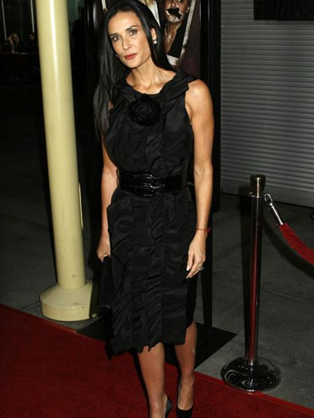 Not everyone quite believed it when Demi Moore announced that she'd never had cosmetic surgery earlier this week, but there was no denying that she looked great at her daughter's Sorority Row premiere in Hollywood. Talk about your mum stealing your thunder! As Demi knows, black is always safe.