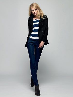 <p>Liberty Bell Peacoat, £114.99 (August) <br />Striped Icarus Knit, £44.99 (July) <br />Superskinny Denim, £44.99 (July) <br />Winter Mustang Boot, £79.99 (July)</p>