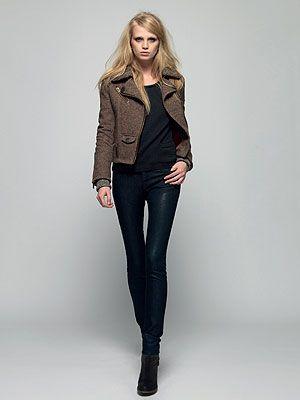 <p>Horserider Jacket, £144.99 (August) <br />Brittany Crew, £44.99 (July) <br />Superskinny Denim, £44.99 (July)</p>