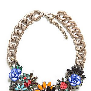 """<p>Crystal flowers in bright hues, multi-coloured diamantes and chunky gold chain… our simple white tees are crying out for Zara's statement necklace.</p><p>Necklace, £29.99, <a href=""""http://www.zara.com/uk/en/new-collection/woman/accessories/jewelled-flowers-necklace-c269207p1296032.html"""" target=""""_blank"""">Zara</a></p>"""