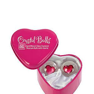 <p>Don't be fooled by the cute appearance of these heart glass balls. The girly sex toys offer great stimulation as they knock together within you.</p>