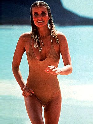 <p>Bo Derek's most famous moment was in movie 10, and in no small part due to her nude bikini with plunging neckline. The actress unsurprisingly became one of the 80s most famous sex symbols.</p>