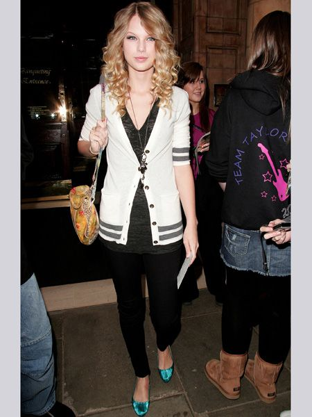 At only 19, Taylor channels a grown-up sense of style in this Chanel-esque cardie and electric blue pumps. She's always been an early starter - writing songs at just 10 years old  <br />