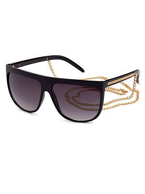 "<p>Forget statement jewellery, wear your bling on your eyes a la Rihanna and Lady Gaga. Simple black frames with chunky gold chain on the sidepieces will do the trick.</p> <p>Sunglasses, £6.99, <a href=""http://www.hm.com/gb/product/11710?article=11710-A"" target=""_blank"">H&M</a></p>"