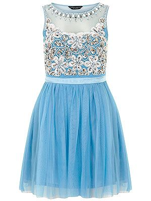 "<p>Be the belle of the ball (or garden party) with Dorothy Perkin's blue prom dress. Full tulle skirt, sequined bodice with sheer cut-out and a powder blue hue – what's not to like?</p> <p>Blue prom dress, £65, <a href=""http://www.dorothyperkins.com/en/dpuk/product/whats-new-203534/view-all-new-in-203544/blue-embellished-prom-dress-2100618?bi=1&ps=200"" target=""_blank"">Dorothy Perkins</a></p>"