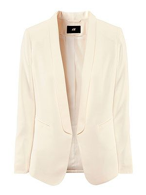 "<p>A tailored, boyfriend-style blazer is a versatile piece that will instantly smarten up your outfit. Opt for a classic white or eye-popping shades for the summer. We recommend wearing over a print T-shirt, boyfriend jeans rolled up at the ankle and bright heels for that sexy boy-meets-girl look. </p> <p>Jacket, £24.99, <a href=""http://www.hm.com/gb/product/09257?article=09257-B#article=09257-B"" target=""_blank"">H&M</a></p>"