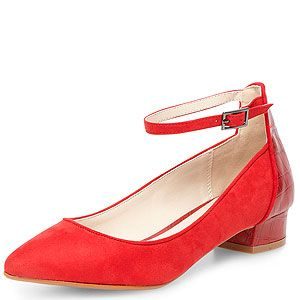 <p>Dorothy Perkins' cool red suede pointed courts with a snake effect block heel will take you from summer to autumn in a flash.</p>
