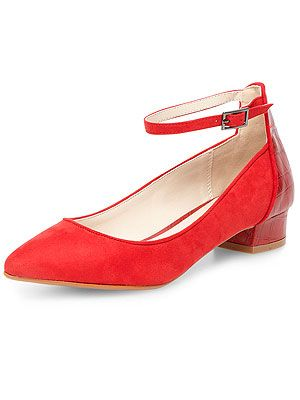 "<p>Dorothy Perkins' cool red suede pointed courts with a snake effect block heel will take you from summer to autumn in a flash.</p> <p>Red pointed low courts, £29, <a href=""http://www.dorothyperkins.com/en/dpuk/product/whats-new-203534/new-in-shoes-204074/red-pointed-low-court-2115792?bi=1&ps=20"" target=""_blank"">Dorothy Perkins</a></p>"