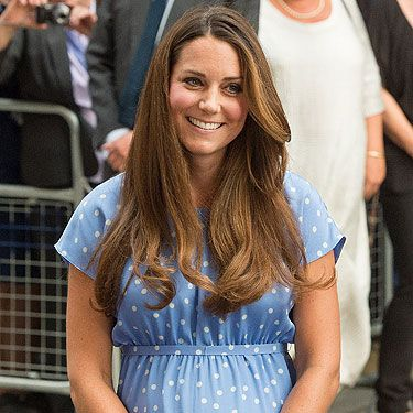 <p>K-Middy gets it spot on yet again in the style stakes. Emerging for the first time since giving birth to the Royal baby – this simple, baby blue polka dot Jenny Packham dress is on our lust list. How does she look so amazing after giving birth?</p>