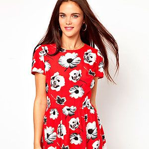 <p>Make a statement with a bold bloom in a fiery shade with this style steal from Primark. Wear with bare legs and cowboy boots now and punk up with black opaques and a leather jacket come autumn.</p>