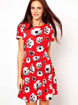 """<p>Make a statement with a bold bloom in a fiery shade with this style steal from Primark. Wear with bare legs and cowboy boots now and punk up with black opaques and a leather jacket come autumn.</p> <p>Primark Floral Skater Dress, £13, <a title=""""ASOS"""" href=""""http://www.asos.com/Primark/Primark-Floral-Skater-Dress/Prod/pgeproduct.aspx?iid=3136734&SearchQuery=floral%20dress&Rf-800=-1,106&sh=0&pge=0&pgesize=204&sort=-1&clr=Red"""" target=""""_blank"""">ASOS</a></p>"""