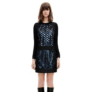 """<p>A long-sleeved sequined dress in blue and black.</p><p>ls sleeve laser cut frame dress, £925, <a title=""""Victoria, Victoria Beckham"""" href=""""http://www.victoriabeckham.com/shop/category/victoria-victoria-beckham/ls-sleeve-laser-cut-frame-dress-black-slash-blue"""" target=""""_blank"""">Victoria, Victoria Beckham</a></p>"""