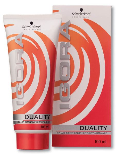 "Schwarzkopf Professional Igora Duality, 2 Phase Intensive Direct Color, £8.75, <a target=""_blank"" href=""http://www.schwarzkopfsalonfinder.co.uk/"">www.schwarzkopfsalonfinder.co.uk </a><br /><br />This salon professional 2-phase striped cream goes where no other semi-permanent has gone before; no ammonia, no oxidation and no re-growth, just great colour intensity, radiance and shine. Unlike the consumer brands the straight from the tube delivery contains enough contents for two or three applications depending on the length of your hair.<br /><br />"