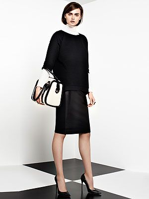 <p>Texture top, £20<br />Panel skirt, £26<br />Roll neck, £10<br />Barrel bag, £26</p>