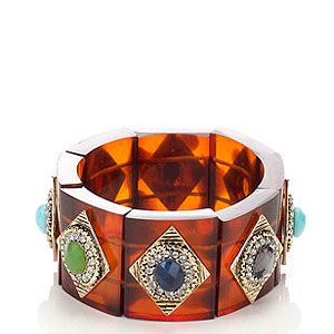 """<p>This season is all about adding a modern twist to classic trends. Case in point, this heritage Perspex tortoiseshell bracelet with colourful gems and sparkling crystals. </p><p>Heritage embellished tort bracelet, £15, <a href=""""http://uk.accessorize.com/view/product/uk_catalog/acc_2.9/4840879700"""" target=""""_blank"""">Accessorize</a></p>"""