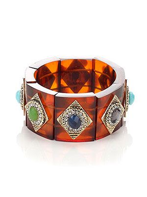 "<p>This season is all about adding a modern twist to classic trends. Case in point, this heritage Perspex tortoiseshell bracelet with colourful gems and sparkling crystals. </p> <p>Heritage embellished tort bracelet, £15, <a href=""http://uk.accessorize.com/view/product/uk_catalog/acc_2.9/4840879700"" target=""_blank"">Accessorize</a></p>"