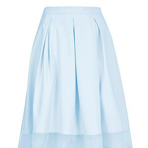 <p>For a modern take on the 50s trend pick a full skirt with mesh or organza insert. Uplift pastel shades with neon sandals and a print top.</p>