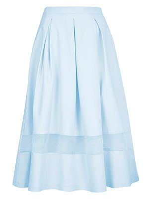 "<p>For a modern take on the 50s trend pick a full skirt with mesh or organza insert. Uplift pastel shades with neon sandals and a print top.</p> <p>Organza insert calf skirt, £48, <a href=""http://www.topshop.com/en/tsuk/product/organza-insert-calf-skirt-2032260"" target=""_blank"">Topshop</a></p>"