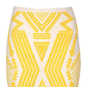 <p>Get that holiday look with a bright Aztec print mini, teamed with a denim shirt or crop top and wedges. </p>