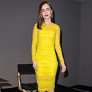 <p>You'd have been hard pressed to miss Lily Collins on Monday as she attended the Apple Store Soho Presents: Meet The Filmmakers 'The Mortal Instruments: City of Bones' event in New York on Monday. The 24-year-old looked amazing in a bright yellow Versace dress with sheer detailing that did wonders for her alabaster skin. She let the dress do all the talking and teamed it simply with black pointy Casadei heels, and she took the same stance with her beauty look. Plum lipstick and those eyebrows. Perfect.</p>