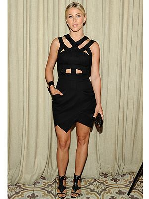 <p>Julianne Hough showed up at US Cosmopolitan's Summer Bash in a sexy LBD by Camilla & Marc complete with cut-out details and unexpected frontal pockets which she paired with Brian Atwood merritta sandals.</p>