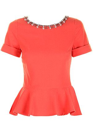 """<p>Just because the sun isn't shining doesn't mean you can't add a pop of colour to your wardrobe. This peach peplum top with embellished neckline is flattering to any body shape and will lok great worn with jeans or a pencil skirt.</p> <p>Jessica top, £55, <a href=""""http://www.darlingclothes.com/product/darling/jessica-top/7174/"""" target=""""_blank"""">Darling</a></p>"""