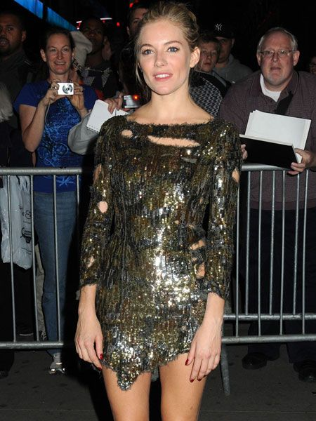 Sienna Miller looked dazzling in her sparkling frock for the opening of her Broadway debut in 'After Miss Julie'.