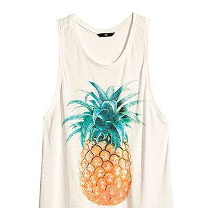 """<p>The tropical trend was big news this season. If you don't want to go for the full-on print, pick a plain white T-shirt with a single pineapple on it – versatile enough to wear with denim cut-offs or a print skirt.</p><p>Top with a print, £12.99, <a href=""""http://www.hm.com/gb/product/15364?article=15364-A"""" target=""""_blank"""">H&M</a></p>"""