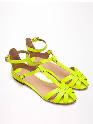 """<p>There's no better way to stand out from the crowd at V festival than with neon accessories. Start with your footwear in the shape of acid yellow sandals and work your way up with neon jewellery or sunglasses.</p> <p>Sandals, £19.99, <a href=""""http://www.bershka.com/webapp/wcs/stores/servlet/product/bershkagb/en/bershkasales/160506/2853071/Bershka%2Bcolour%2Bsandals/097"""" target=""""_blank"""">Bershka</a></p>"""