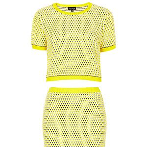 """<p>Knitted textured crop top and skirt, £70, <a href=""""http://www.topshop.com/webapp/wcs/stores/servlet/ProductDisplay?searchTerm=knitted+crop+top+and+skirt&storeId=12556&productId=11424788&urlRequestType=Base&categoryId=&langId=-1&productIdentifier=product&catalogId=33057"""" target=""""_blank"""">Topshop</a></p>"""
