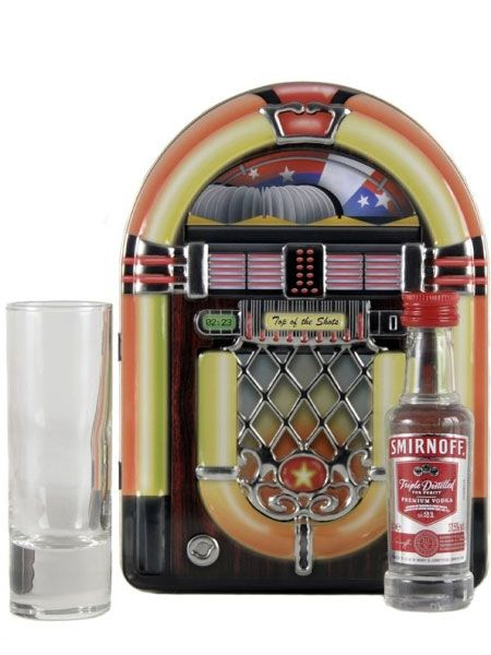 """If you can't afford to let him blast out beats on a real juke box, get him this replica tin complete with Smirnoff vodka and shot glasses so he can drink instead of dance, which is probably a good thing...<br /><br /><a target=""""_blank"""" href=""""http://www.houseoffraser.co.uk/Vintage+Marque+Juke+box+tin/124932327,default,pd.html"""">www.houseoffraser.co.uk   </a>"""