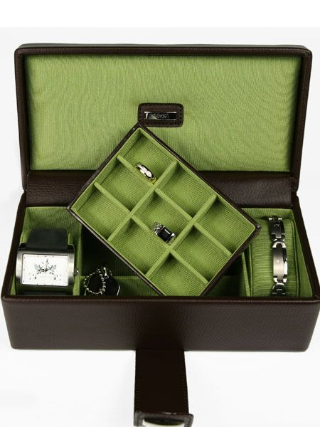 """If he's the messy type, get him organised without having to utter a nagging word thanks to this lush leather box. There's space for watches, rings and cufflinks too...<br /><br /><a target=""""_blank"""" href=""""http://www.gemstv.co.uk/browse.jsp?category=boxesandchains&item=Boxes"""">www.gemstv.co.uk</a><br /><br />"""
