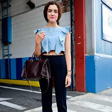 <p>Tonya is top of the crops in this sophisticated outfit. She mixes high-street Zara trousers with a luxe Yves Saint Laurent tote. Tres chic.</p>