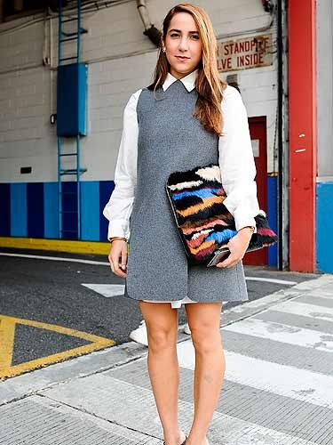 "<p>Mariana Cantu works the preppy look in a grey pinafore dress and white JW Anderson shirt - perfect for the <a href=""http://www.cosmopolitan.co.uk/fashion/shopping/back-to-school-winter-fashion?click=main_sr#fbIndex1"" target=""_blank"">'going back to school'</a> style.</p>"
