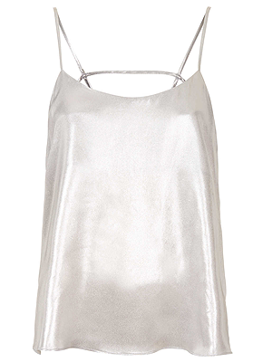 """<p>This 90s style cami is the perfect partner for stylish seperates, especially if you're planning to party after the last show of the day.</p><p>Metallic cami, £28, <a href=""""http://www.topshop.com/webapp/wcs/stores/servlet/ProductDisplay?langId=-1&storeId=12556&catalogId=33057&productId=11778246&categoryId=1093304&parent_category_rn=208524"""" target=""""_blank"""">topshop.com</a></p><p> </p>"""