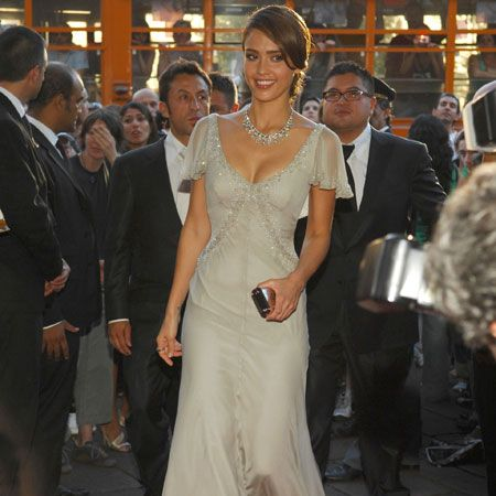 Dazzling in an embellished full-length gown, Jess showed off her style sparkle in Italy's fashion capital&#x3B; Milan<br />