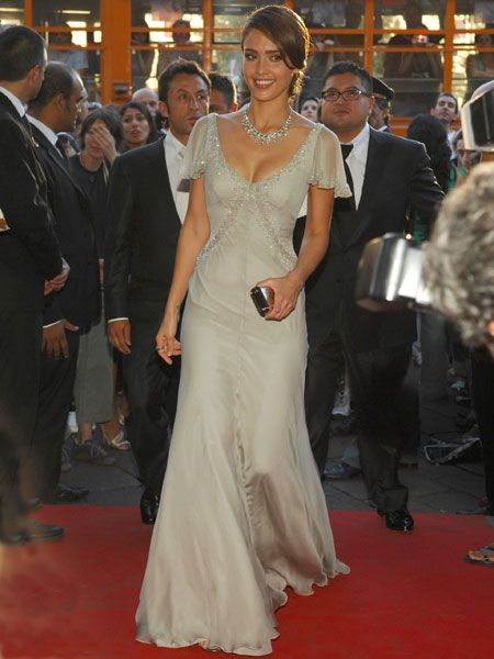 Dazzling in an embellished full-length gown, Jess showed off her style sparkle in Italy's fashion capital; Milan<br />