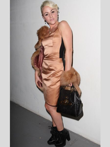 <p>Hot from the BAFTAs, Jaime rocked up to Pam Hogg's front row in a satin nude dress with her most-wanted Vivienne Westwood on her arm</p>