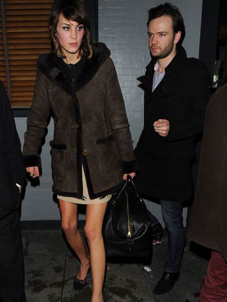"A rather gaunt looking <a href=""taggs/alexa-chung"">Alexa Chung</a> was also spotted leaving the Groucho Club and being escorted into a black cab by a mystery male companion."