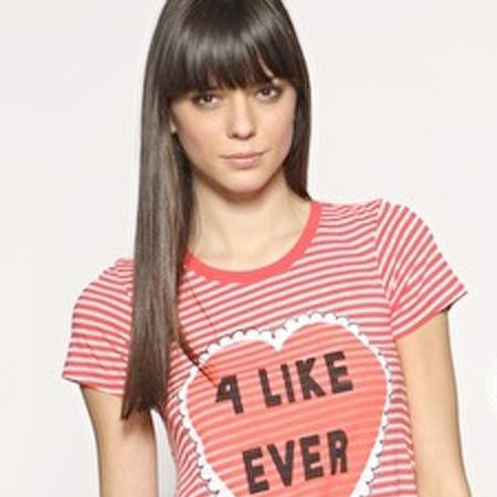 """Wildfox has a HUGE celeb following- and we can see why.. how cute is this T-shirt? <br /><br />£60, Wildfox at <a target=""""_blank"""" href=""""http://www.asos.com/Wild-Fox/Wildfox-Be-Mine-4-Like-Ever-T-Shirt/Prod/pgeproduct.aspx?iid=996950&cid=2623&sh=0&pge=3&pgesize=20&sort=-1&clr=Hot+Red"""">www.asos.com</a><br />"""