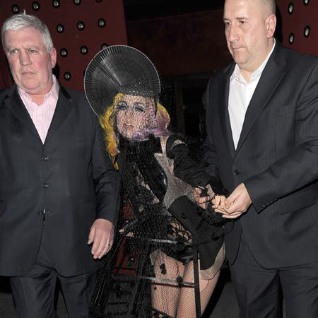 Lady GaGa wore a pained expression as she left Buddha Bar in a Little Bo Peep inspired outfit, following a weekend of impressive performances at London's O2 Arena...